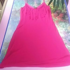 Hot Pink Sundress by Coooer Key with Fringe Top